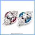 Purple And Blue Enamel Zircon Pave Solid Sterling Silver Box Clasps Hooks Jewelry Accessories For Pearl Necklace SC-BC222