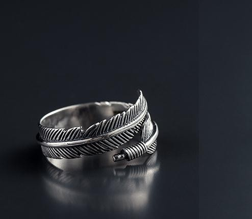 manufacturer 925 vintage feather plain silver ring