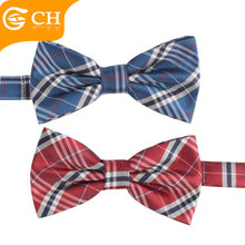 Polyester Custom Mens Adjustable School Uniform Plaid Polyester Bow Tie