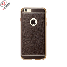 Hot Selling Mobile Phone Plating Striae Accessories, High Quality for iPhone6 TPU Leather Case