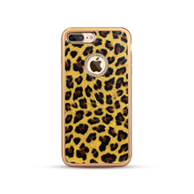 Latest Arrival New TPU Case Luxury Leopard Texture Leather Back Cover Electroplating Crystal Phone Case for iPhone 7/7Plus