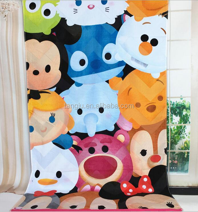 China supplier 100%cotton cute reactive printed velour beach towel customised size