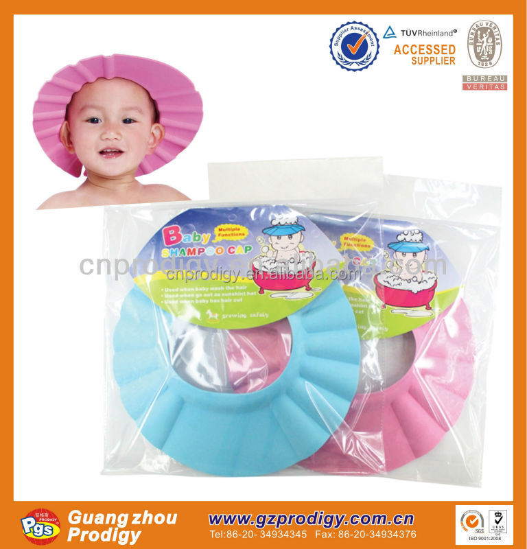 CHILD SHOWER SHAMPOO BATH CAP ADJUSTABLE SIZE - PINK, BLUE, KIDS HAT (Pink)