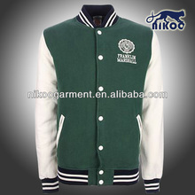 NIKOO custom fleecy varsity jackets in dark green/white with tackle twill