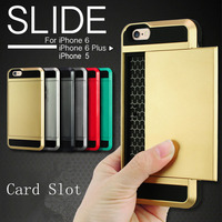 Luxury Dual Layer ShockProof Slide Card Slot Wallet ID Case For iPhone 5S 6S 6S Plus