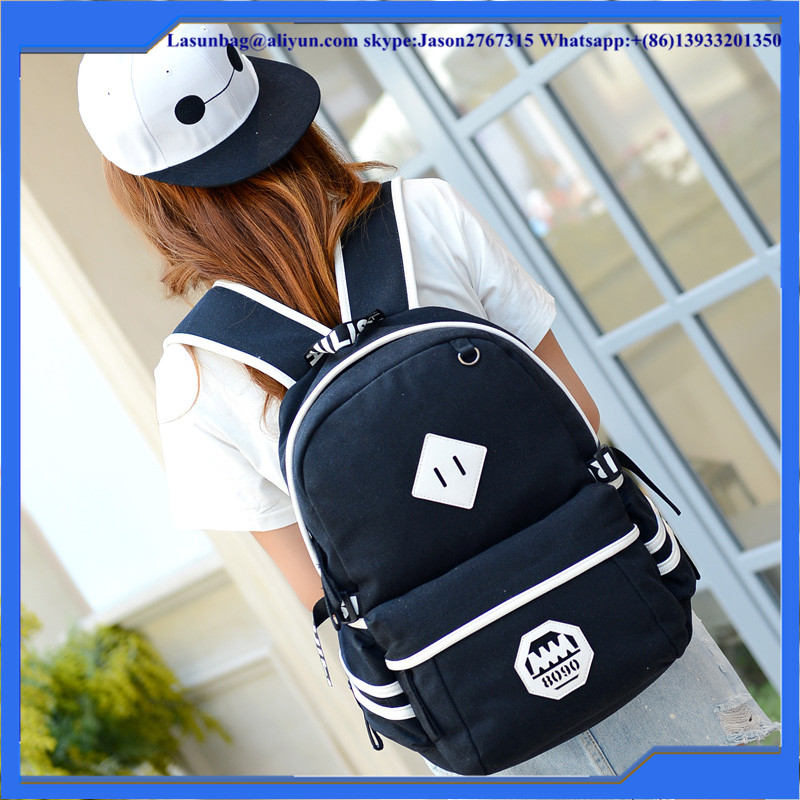 Hot Product Black Cheap Durable Canvas Backpack /Fashion School Backpack for High School Student