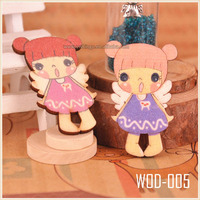 Vintage Miniature Wood Painted Wood Doll Ornaments Fashion Beads WOD005