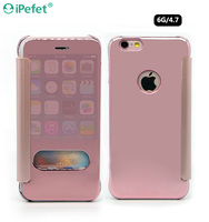 2016 Top selling products clear view mirror flip case for iPhone 6/6s