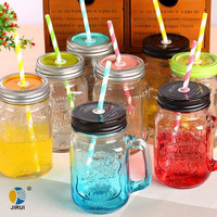 400ml Glass bottle mason jars with color painted wholesale with caps and straws