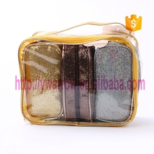fashion bling pu toiletry kit set cosmetic bag