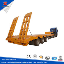 3 axles mechanical suspensions 80ton low bed plantform truck vehicle on hot sale air suspension optional