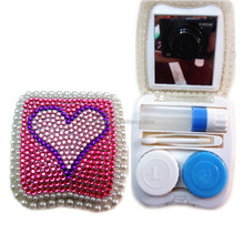 New arrival plastic rhinestone eye contact lens cases