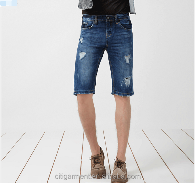 (stock)Popular ripped low waist leisure pants short jeans for men, hole jeans