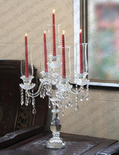 Hot Selling! 5 Arms Crystal Candelabra Canterpieces with Chimney Lamps Wholesale SH-056
