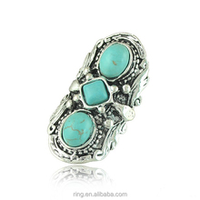 Amazon hot sale vintage silver plated geometry turquoise stone ring