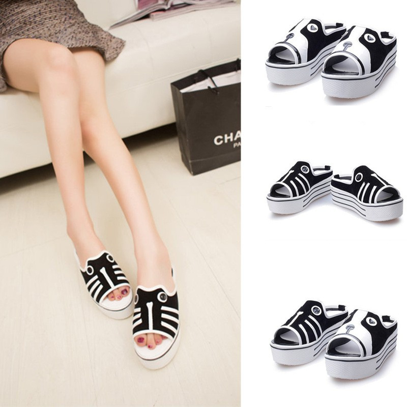 New Cute Women Girls Sandals Dog Cat Pattern Platform Sole Peep Toe Shoes Dog