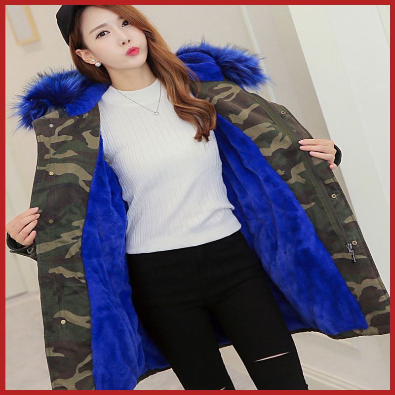 New fashion faux fox fur collar rabbit lining removable hooded fake fur parka