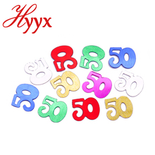 HYYX free sample 50 birthday confetti number party decoration wedding souvenir