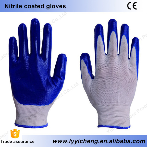 Hand working safety nitrile coated gloves