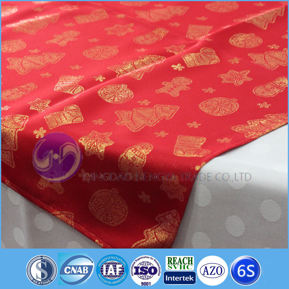 polyester jacquard fabric dinning christmas table cloths
