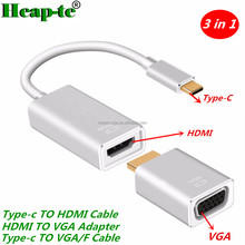 New 3 in 1 Type C To VGA/F Cable 4K*2K Male To Female HDMI Converter To VGA Adapter Usb C 3.1 For Macbook Pro