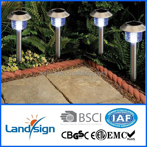 Cixi Landsign XLTD-300SS wholesale for outdoor garden pathway use sliver finish standing solar lamp for garden