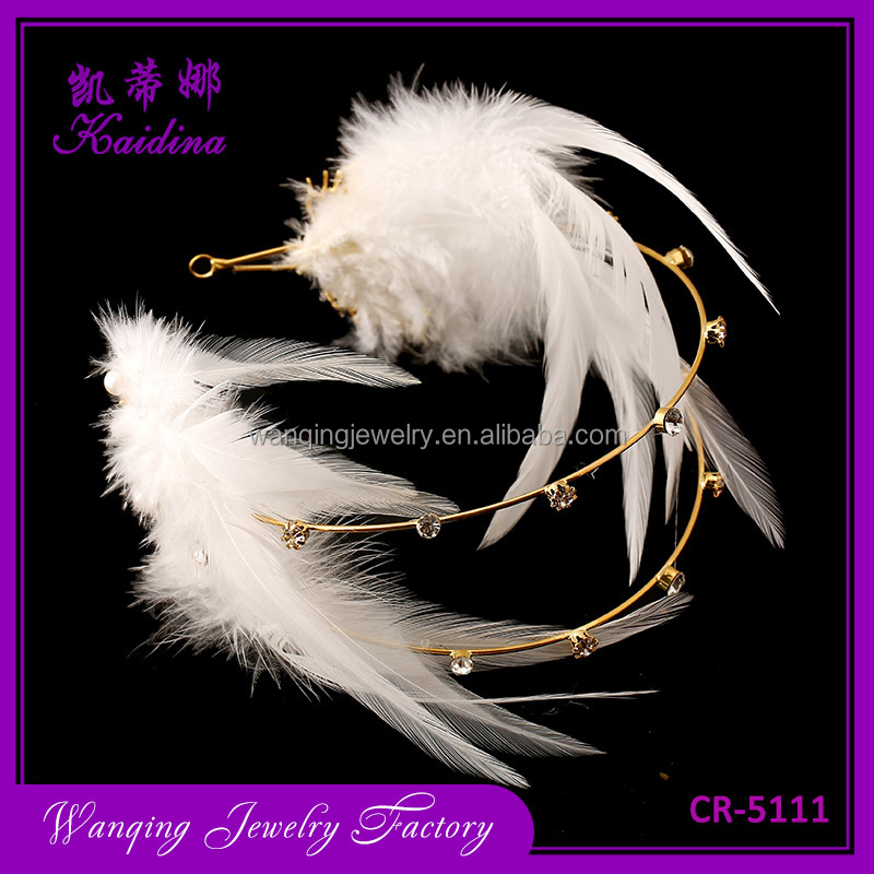 Fashion White Feather Crystal Bridal Headband Wedding Hair Accessory Evening Tiara Crown