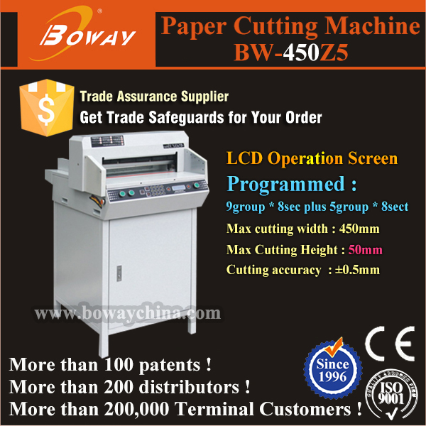 20 year Hangzhou hupu boway 450mm electric paper guillotine cutter