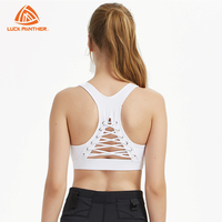 fashion new design custom ladies fitness sports bra top with strings bandage on the back