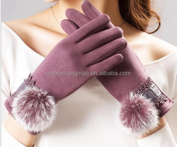 Winter women's warm driving wool gloves touch screen fabric car driving cycling gloves