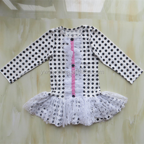 2015 Fashion Autumn Cotton 2pcs Outfits Polk Dots Long Sleeve Top and Stripe Pants Kids Clothes