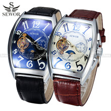 SEWOR Tonneau Watch Tourbillon Clock Men Automatic Wristwatche Moon Phase Fuction Mechanical Relogio Male Erkek Saat