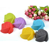 Rose Shaped Muffin Sweet Candy Jelly Fondant Cake Chocolate Mold Silicone Tooling Baking Pan -a set of 12 pcs