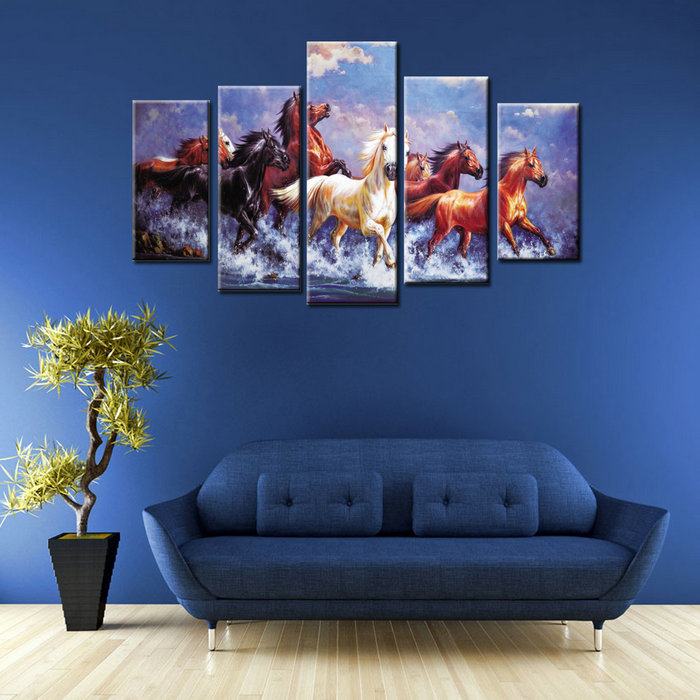 Modern Wall Decorative Running 8 Horses Painting
