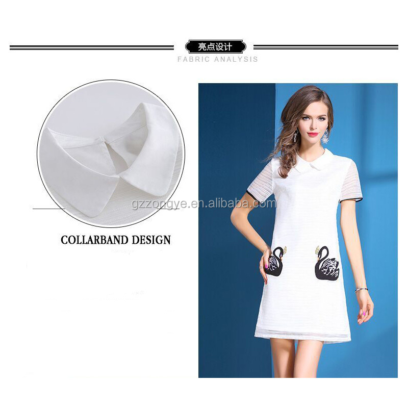 Latest Summer women's dress embroidery gauze doll collar new pure color straight skirt China garment manufacture