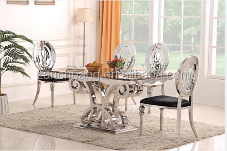 Marble top stainless steel dining table sets