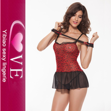 Women New Design Leopard Sheer Sexy Short Nighty
