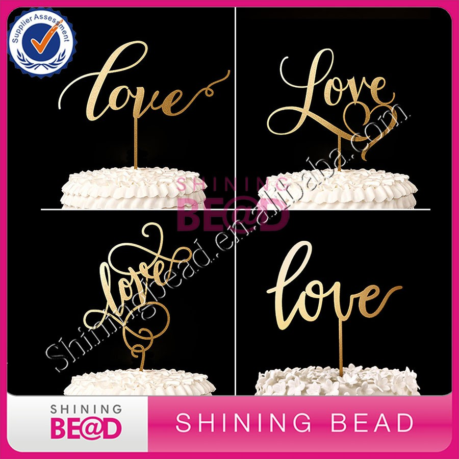 wedding souvenirs wedding acrylic cake topper --- LOVE gold acrylic cake topper whoesale