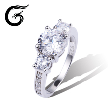GuoLong 2017 new deisign big cz wedding rings 925 silver jewelry