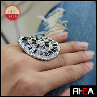 Black Resin Stone Big Hoop Silver Alloy Finger Ring RR12525