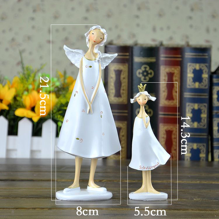 promotional price fairly tale western mother and girl resin wing angel figurine for showroom decor