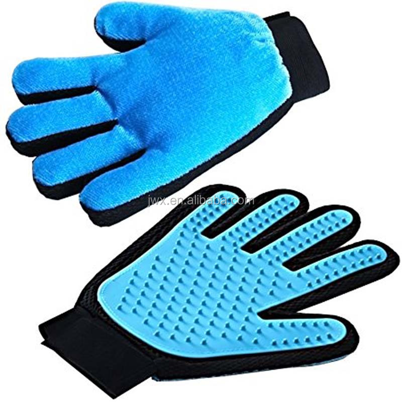 Pet Grooming De-Shedding Brush Glove Silicone Massage 5 Fingers Design Pet Grooming Gloves