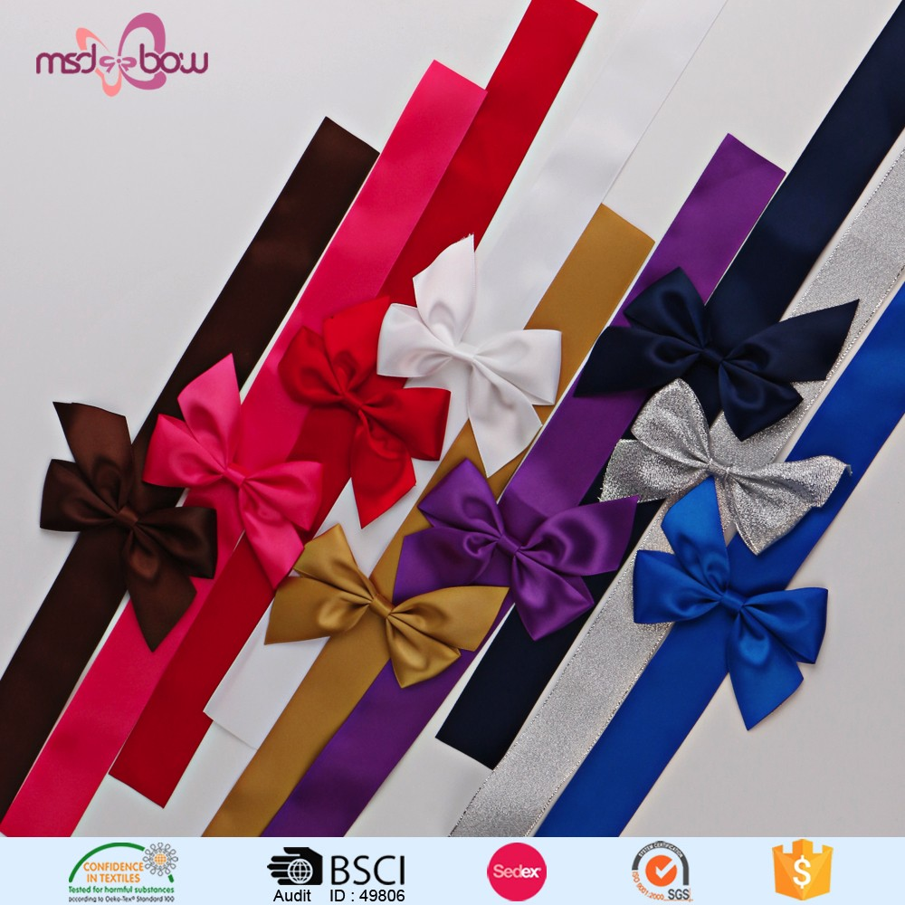 White double faced satin ribbon bow