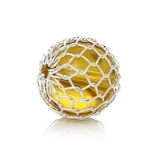 Acrylic Spacer Beads Round Silver Plated Wire Net Wrap Yellow Ball About 11mm Dia,Hole:Approx 1.5mm,30PCs