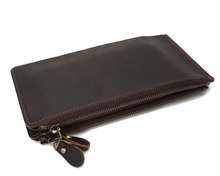 YD-1003 Crazy Horse Leather Wallet for Daily Use Multi-Card Lots Long Style Unisex Purse