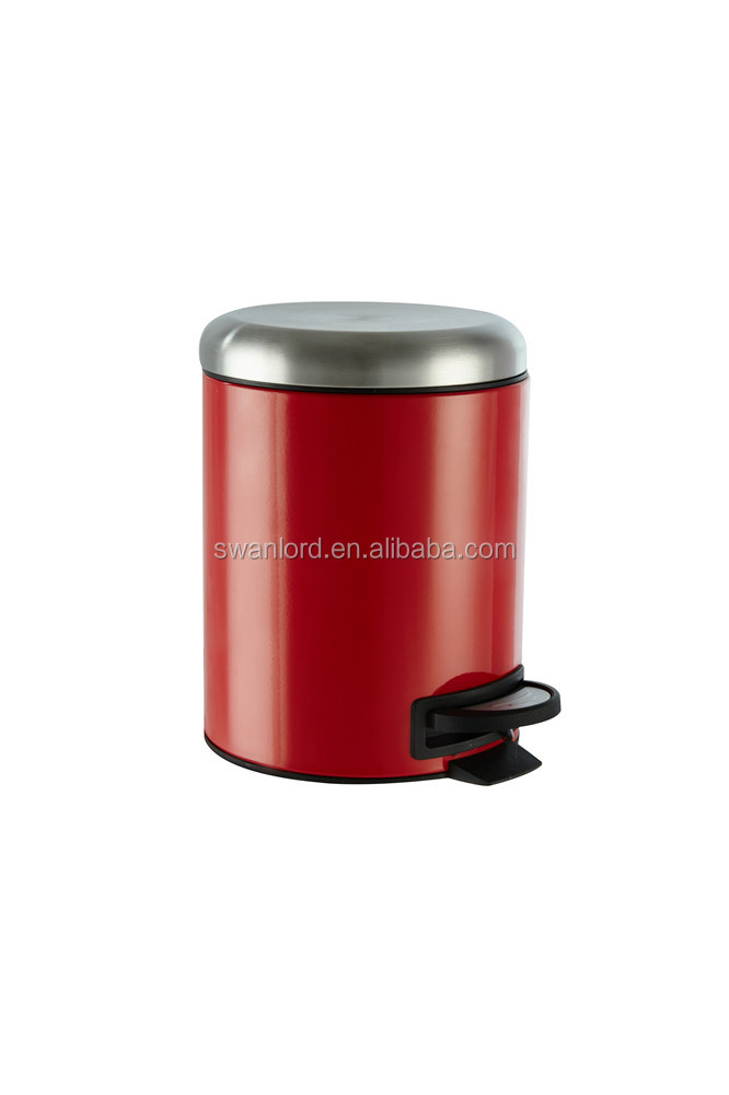 Curver Metal Effect Pedal Bin Red