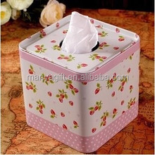 Fresh strawberry Tin Tissue Box Square Roll Paper Tube Napkin Storage Box Kitchen paper box Toilet Paper Case napkin cover tissu