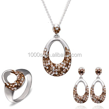 special mushroom brown with nude pink color crystal jewelry set