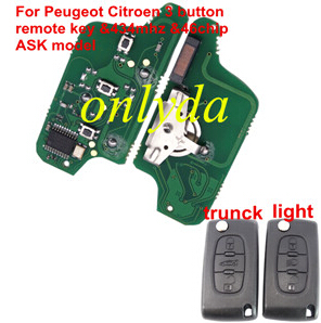 Citroen 3 Button Flip Remote Key with 46 chip ASK model VA2 HU83 blade trunck and light button citroen c4 remote key