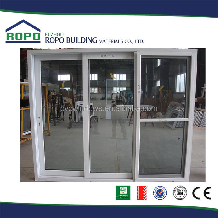 White UPVC frame smoke grey glass three french sliding door